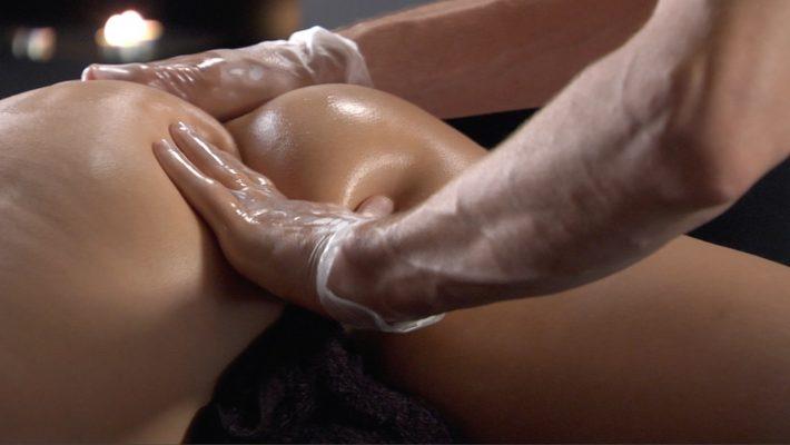 Anal massage on a woman